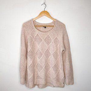 American Eagle Light Pink Diamond Knit Sweater Lg